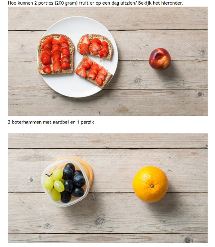 Het Voedingscentrum heeft op de site afbeeldingen geplaatst van porties fruit die je per dag nodig hebt.