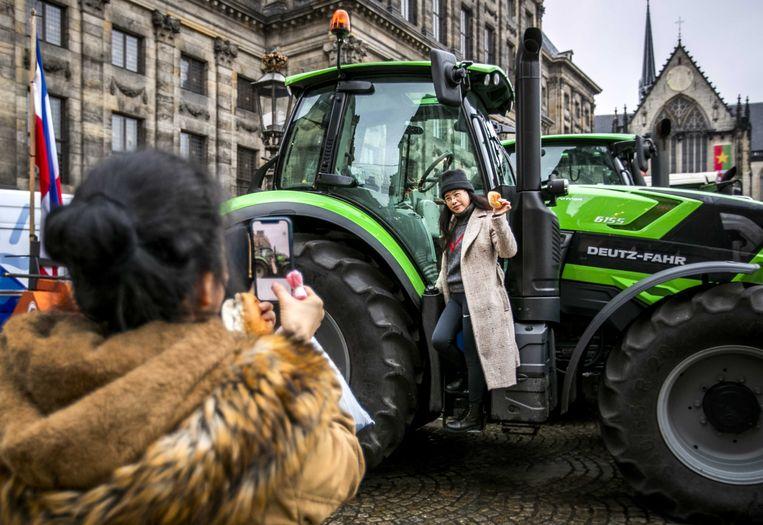De boeren voerden in december al actie in de Amsterdamse binnenstad tegen het stikstofbeleid. Beeld ANP