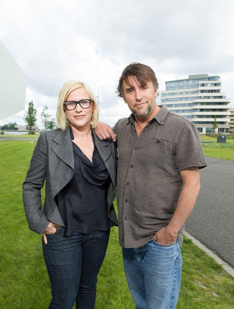 Regisseur Richard Linklater en actrice Patricia Arquette bezoeken filmmuseum Eye ter promotie van hun nieuwe film Boyhood Beeld Ivo van der Bent