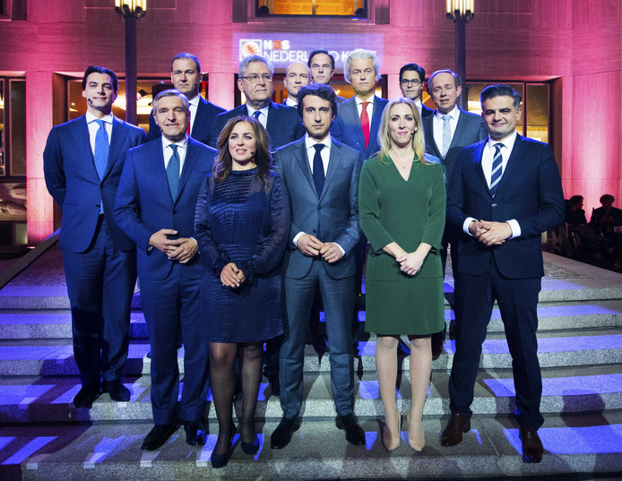 De lijsttrekkers van de dertien grootste partijen voorafgaand aan het debat.