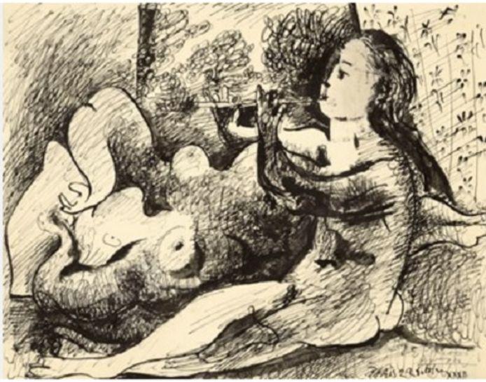 De tekening 'Joueuse de flûte et nu couché' van Picasso wordt geveild.
