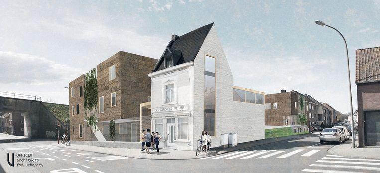 Een toekomstbeeld van cohousingproject De Sijs aan de Geldenaaksebaan.