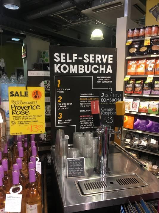Kombuchatap in Londense supermarkt.