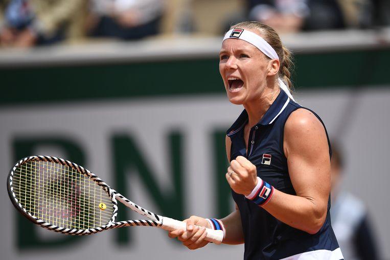 Kiki Bertens na haar overwinning op de Franse Pauline Parmentier tijdens de eerste ronde van Roland Garros vorig jaar. Beeld Hollandse Hoogte / AFP