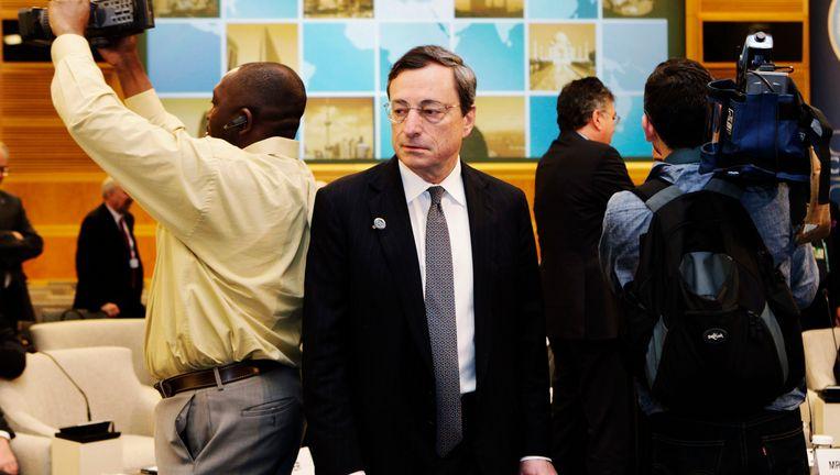 ECB-president Draghi tijdens een voorjaarsvergadering van de ECB en het IMF, op 20 april in Washington. Beeld REUTERS