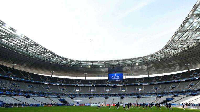 Stade de France, in Saint-Denis, een voorstad van Parijs. Beeld null