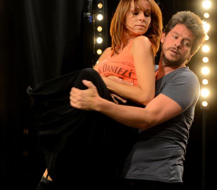 Bieke Ilegems en Erik Goossens beleefden een relatiecrisis tijdens de opnames voor 'Dansdate' in 2014, waarvan hier een repetitiebeeld.