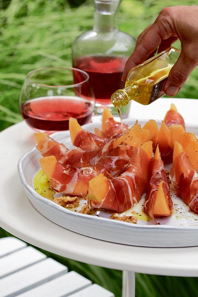 Meloen met parmaham en truffelolie