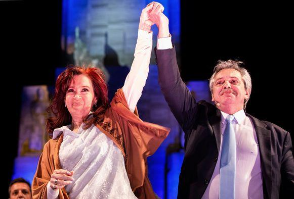 Cristina Fernandez de Kirchner (links) en Alberto Fernandez tijdens de campagneafsluiting begin augustus 2019.