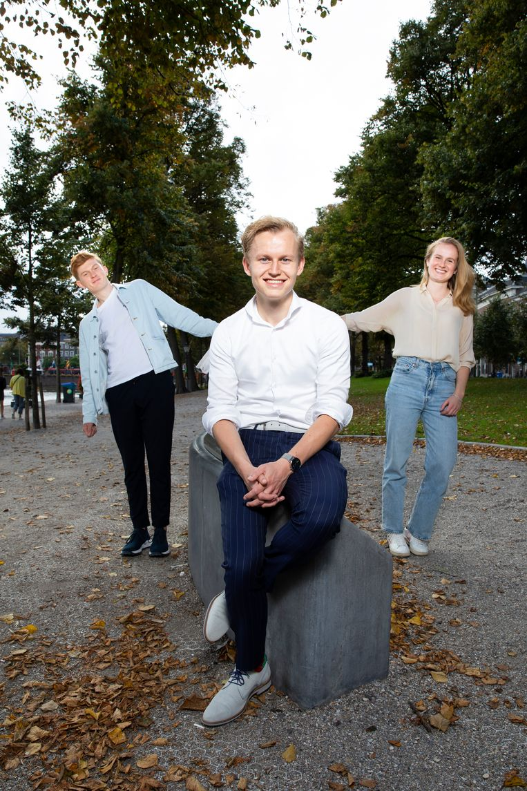 Werner Schouten, Wytze Walstra en Dorian de Gruijter van de Jonge klimaatbeweging, winnaar van de Duurzame 100, editie 2020. Beeld Judith Jockel