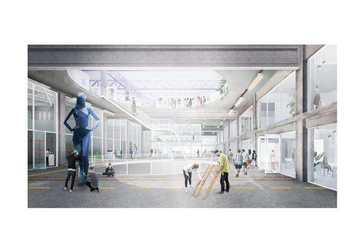 De Kunstacademie én overige ruimten in het te verbouwen pand aan de Parallelweg.