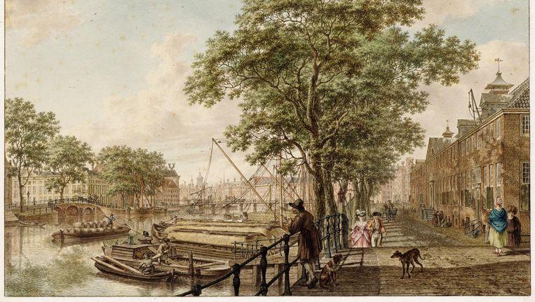De Amstel in 1795 door Jacob Cats, met rechts het Oude vrouwen- en mannenhuis, nu de Hermitage.  Beeld Stadsarchief