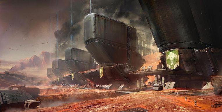 De ruimtebasis van een buitenaards ras op Mars, een van de locaties in Destiny. Dit is een ontwerp van Jesse van Dijk. Beeld Jesse van Dijk