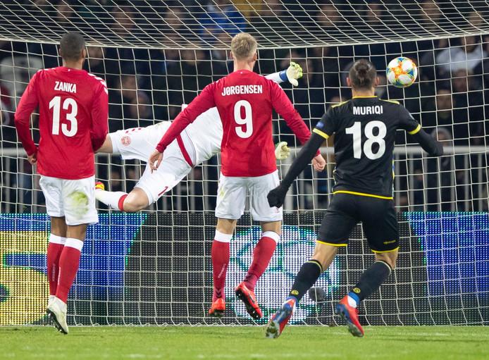 Nicolai Jørgensen speelde een uur mee bij Denemarken.