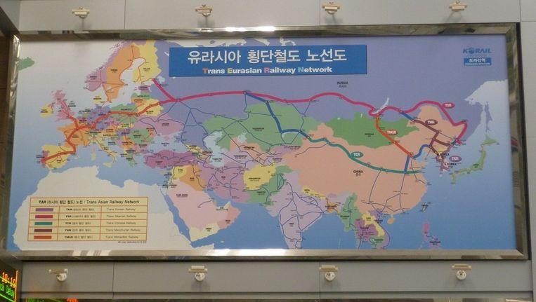 De route die treinen vanaf het nooit voltooide Dorasan Station zouden gaan rijden. Beeld Nilofar Sarwar