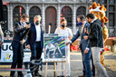 De visual wordt onthuld bij de voorstelling van het parcours van het WK 2021 op de Grote Markt in Antwerpen.