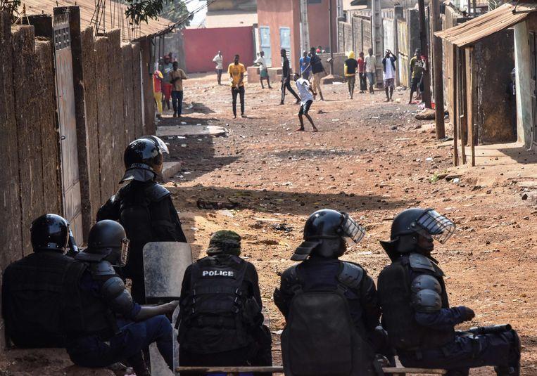Demonstranten in de Guineese hoofdstad Conakry. Beeld AFP