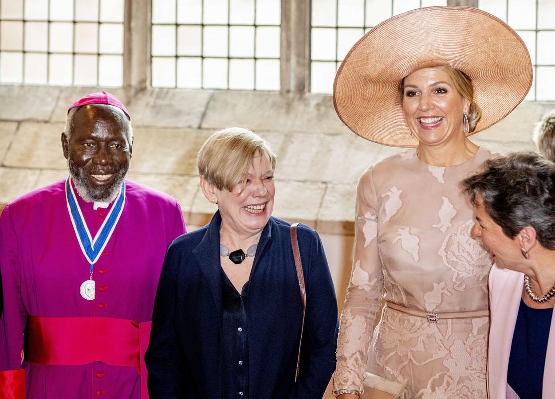 Bisschop Paride Taban uit Zuid-Soedan en koningin Maxima  tijdens de uitreiking van de Four Freedoms Awards in mei van dit jaar in Middelburg.