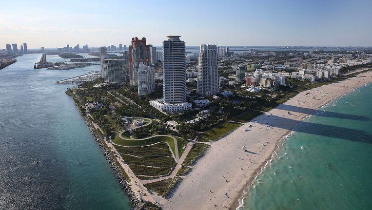 Miami Beach vanuit de lucht bezien Beeld anp
