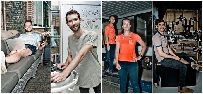 V.l.n.r.: Bram Runhaar, Ruud van Sloun, Marloes Nanninga en Guarav Genani.