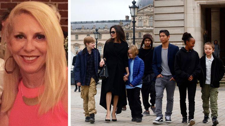 Links: Krisann Morel, de voormalige nanny. Rechts: Angelina Jolie en haar zes kinderen.