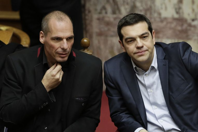 De Griekse minister van Financiën Yanis Varoufakis en premier Alexis Tsipras.