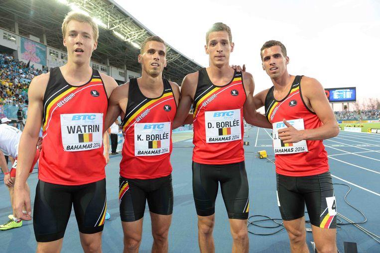 Julien Watrin, Kevin Borlee, Dylan Borlee en Jonathan Borlee.