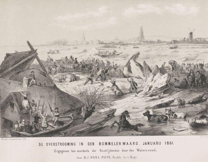 De Overstrooming in den Bommelerwaard. Januarij 1861,Carel Christiaan Antony Last, 1861.