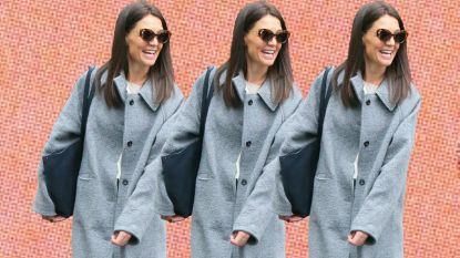 Katie Holmes gespot in jas van opkomend Antwerps modemerk
