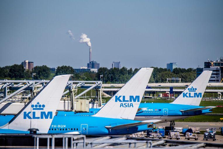 Vliegtuigen van KLM op luchthaven Schiphol.  Beeld ANP