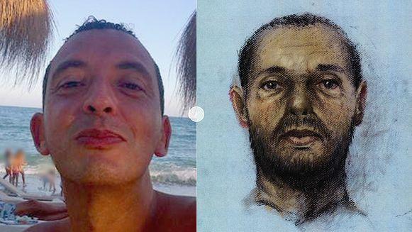 Ridouan Taghi, met rechts een verouderingstekening van hoe hij er nu uit zou kunnen zien.