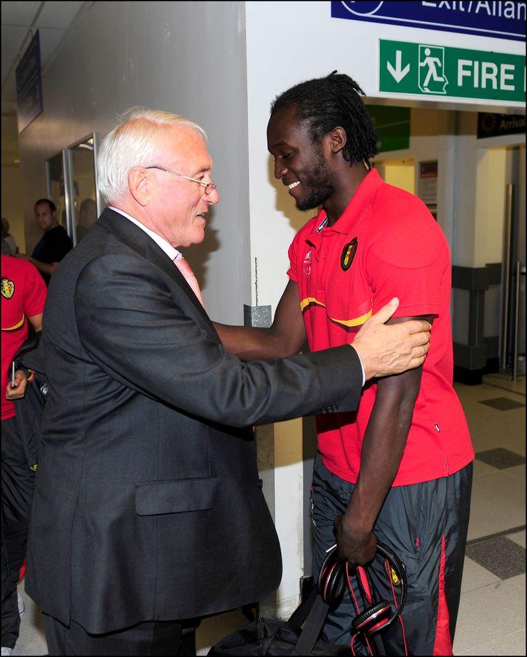 Van Himst feliciteert Romelu Lukaku.
