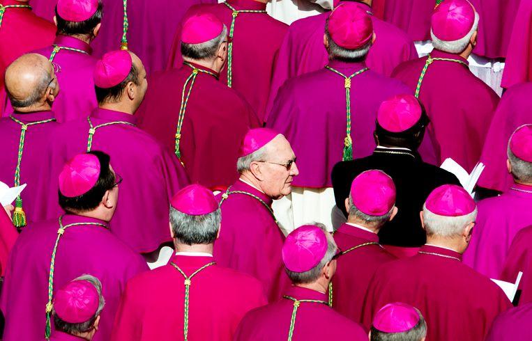 Bisschoppen op het Sint Pietersplein, tijdens de inauguratie van paus Franciscus.  Beeld ANP