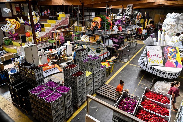 Een miljoen dahlia's staan klaar voor de wagenbouwers. Tegen zondag moeten ze allemaal verwerkt zijn.