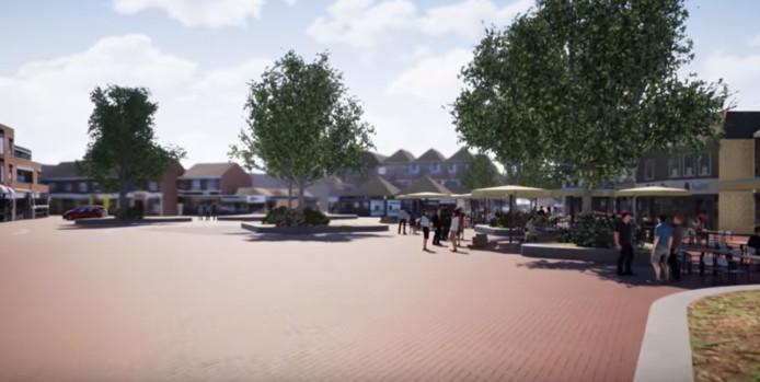 Een beeld van hoe een deel van het plein in het centrumplan Didam er uit kan komen te zien.