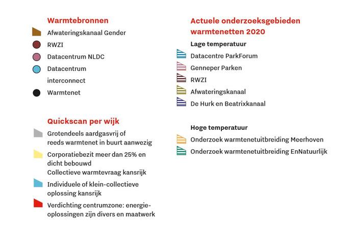 Verklaring bij kaart met alternatieve warmtebronnen stad Eindhoven.