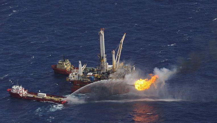Boorplatform Deep Water Horizon van BP dat olie lekte in 2010. Beeld anp