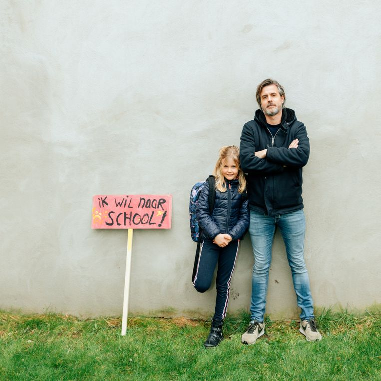 Jeroen de Glas met zijn dochter Carice (7 jaar). Beeld null
