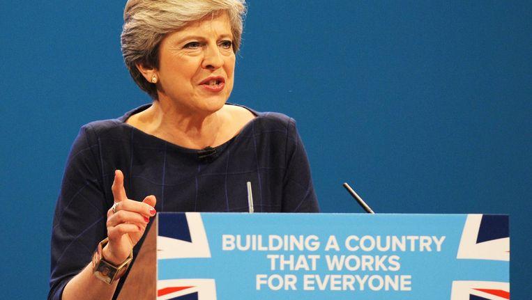 Theresa May tijdens de toespraak op het partijcongres Beeld ap