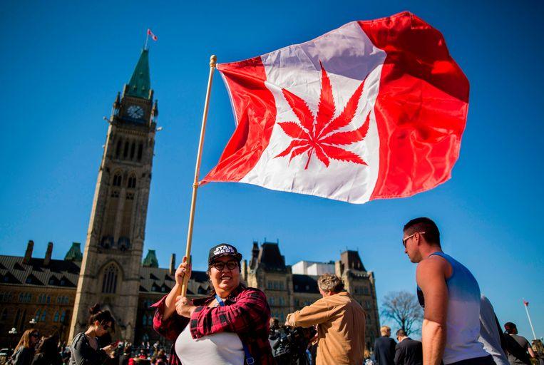 Een vrouw zwaait met de vlag van Canada. In plaats van de beroemde 'maple leaf' prijkt er een wietblad in het midden.  Beeld AFP
