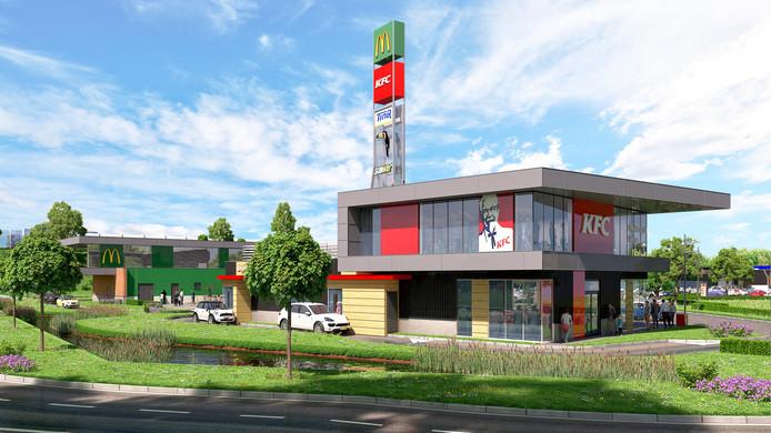 Een impressie van het KFC-pand