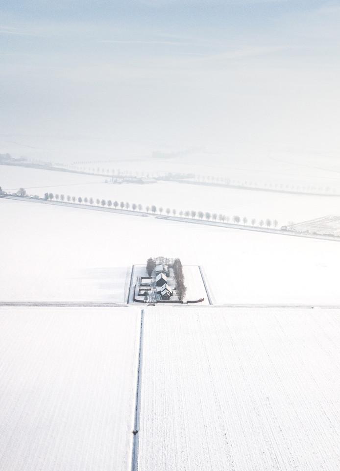 Ook dit beeld van de Hoeksche Waard onder een wit deken gaat mee naar de Verenigde Staten