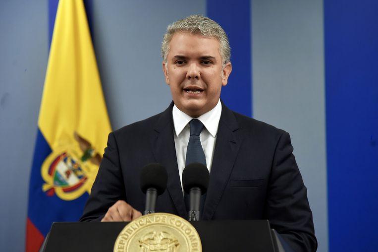 President Ivan Duque spreekt na afloop van de demonstraties het land toe. Hij zei echter niet te zullen aftreden.  Beeld EPA