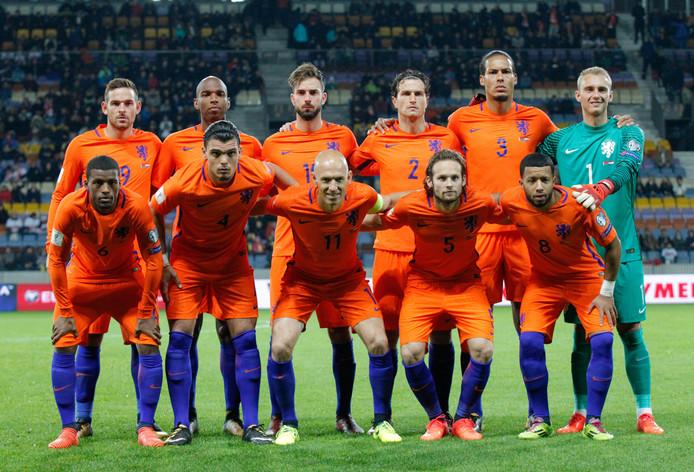 Met dit elftal begon Oranje op 7 oktober 2017 in Minsk aan de laatste ontmoeting met Wit-Rusland. Eindstand: 1-3.