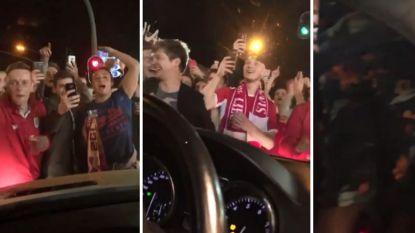 Fans Standard omsingelen auto van geblesseerde sterkhouder en vragen om met hen te feesten (en natuurlijk krijgen ze hun zin)