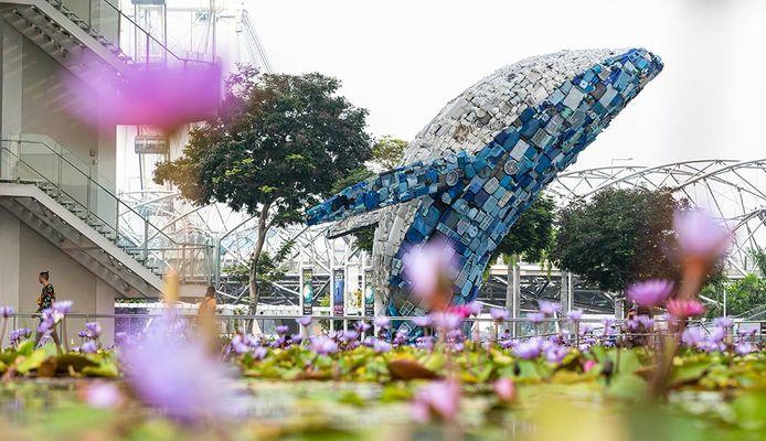 De walvis vertrekt weer uit Singapore