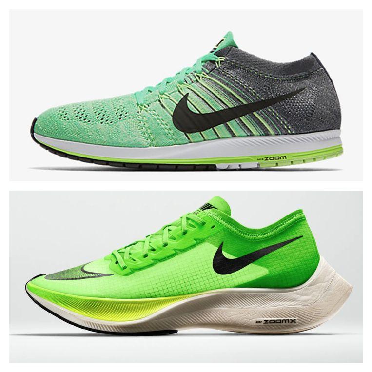Minimalistische loopschoen vs. loopschoen met erg opgevulde zool.
