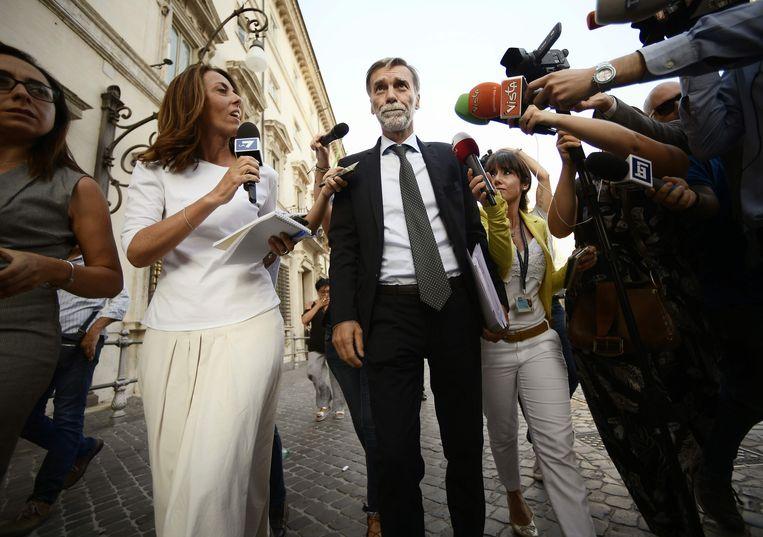 Graziano Delri, fractieleider van de PD in de Kamer van Afgevaardigden, komt dinsdag terug van overleg met kandidaat-premier Conte.  Beeld Filippo Monteforte / AFP