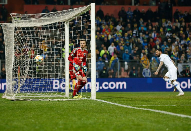 De kopbalgoal van Dimitris Kolovos tegen Bosnië in de 85e minuut (2-2).