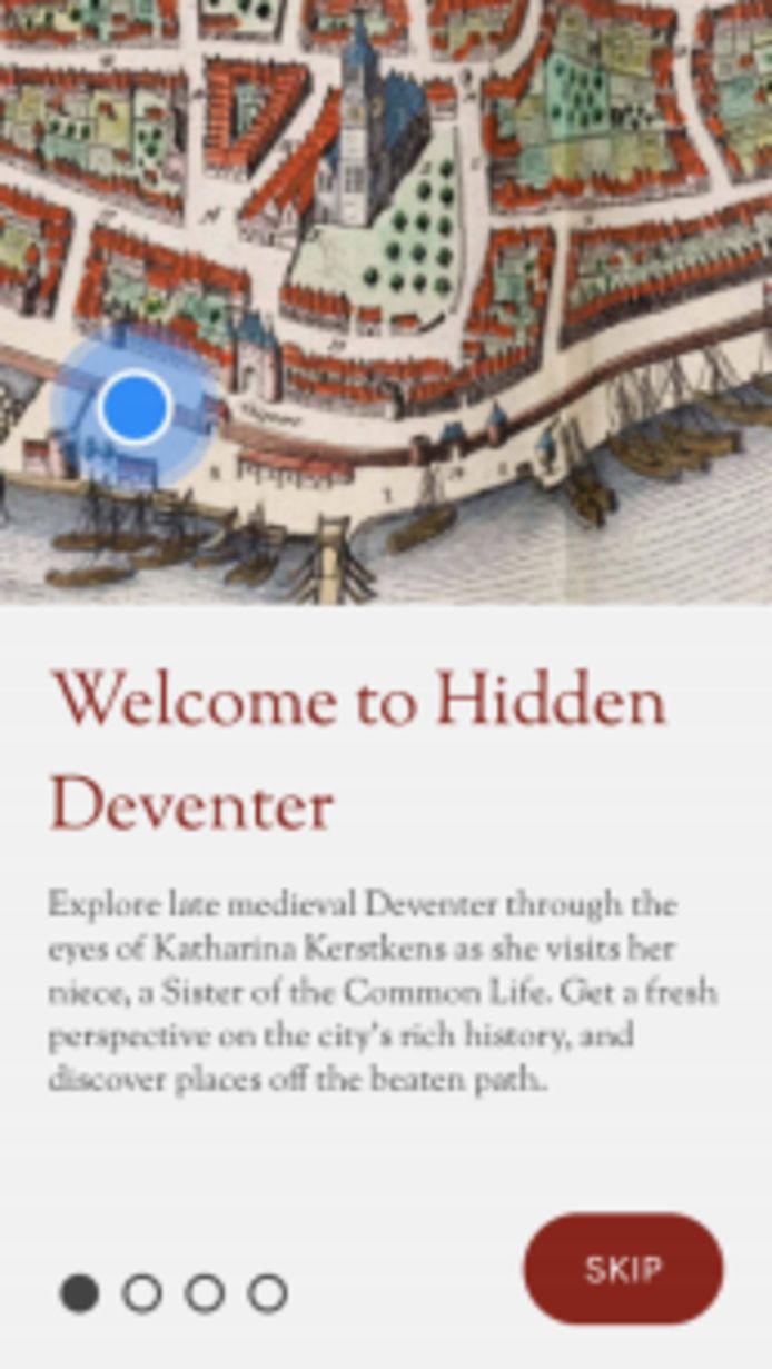 Welkom in het Deventer rond de vijftiende eeuw. Je kunt met behulp van gps wandelen op een oude kaart aan de hand van Katharina.
